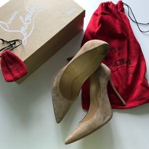 Auth Christian Louboutin Cappuccino Pumps 100mm